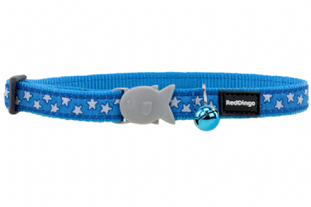Red Dingo White Stars On Turquoise Cat Collar